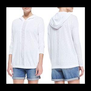 New Vince sheer-stripe cotton slub boxy cut hoodie